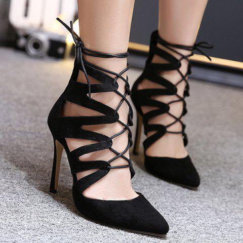 Fashion Pointed Toe Lace Up Stiletto Heel Pumps