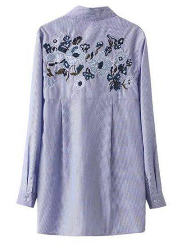 Store Self Tie Striped Floral Embroidered Shirt STRIPE M