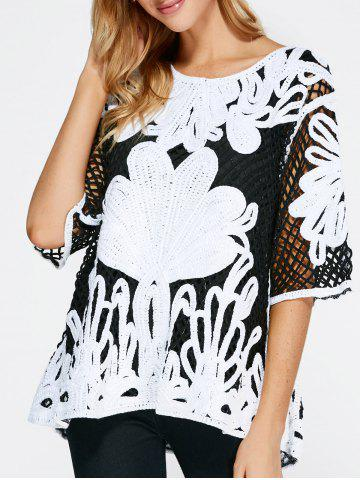 Cheap Openwork Embroidery Vintage Blouse