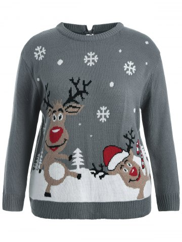 Back Bowknot Snowflake Cartoon Pattern Christmas Sweater - Gray - Xl