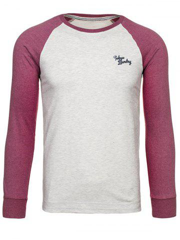 Fashion Crew Neck Raglan Sleeve Embroidered T-Shirt