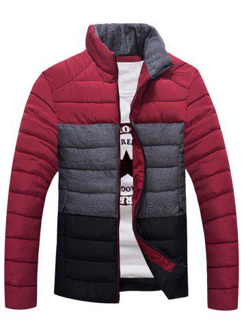 Fancy Contrast Insert Stand Collar Zip Up Padded Jacket RED L