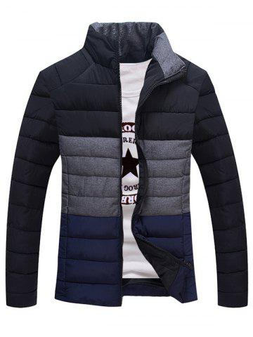 Affordable Contrast Insert Stand Collar Zip Up Padded Jacket