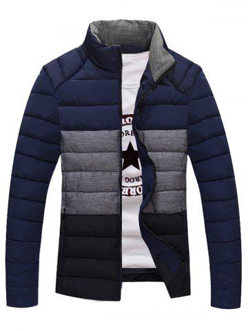 Latest Contrast Insert Stand Collar Zip Up Padded Jacket - 3XL DEEP BLUE Mobile