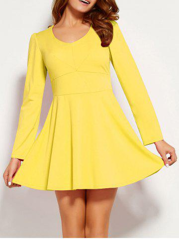 Cheap Long Sleeve Fit and Flare Mini Dress