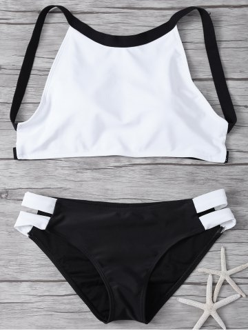Trendy Cut Out High Neck 2 Piece Swimsuit