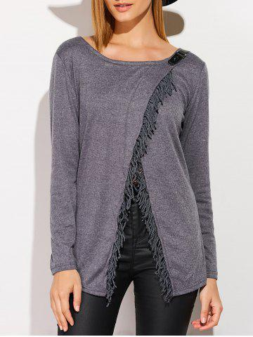Unique Metal Embellished Tassels Cardigan DEEP GRAY XL