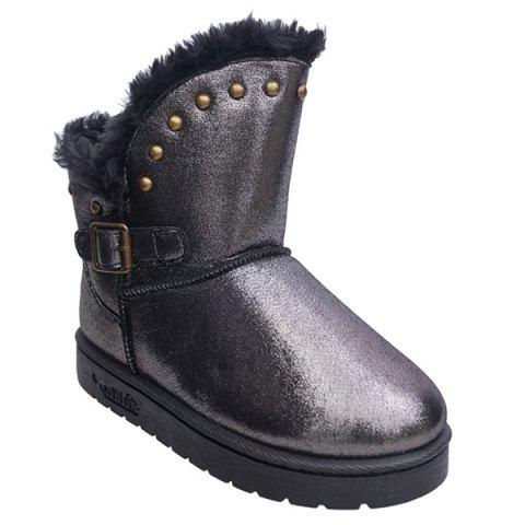 Discount Rivet Buckle PU Leather Snow Boots