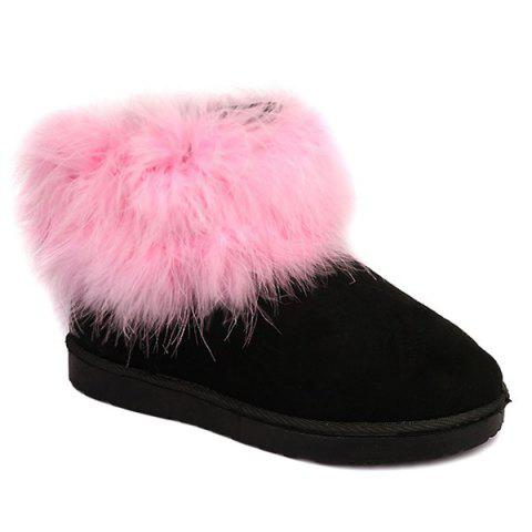 Fancy Ankle Flocking Snow Boots PINK 39