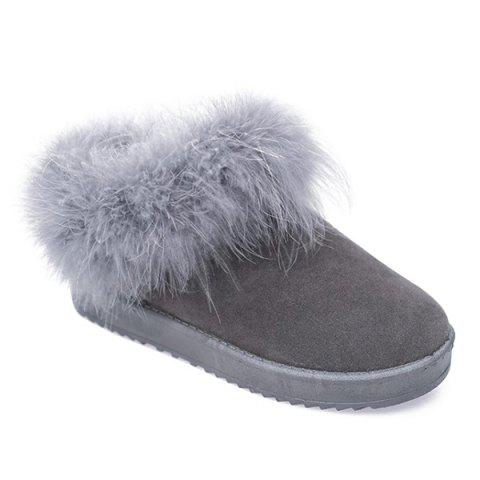 Cheap Faux Fur Flocking Snow Boots GRAY 39