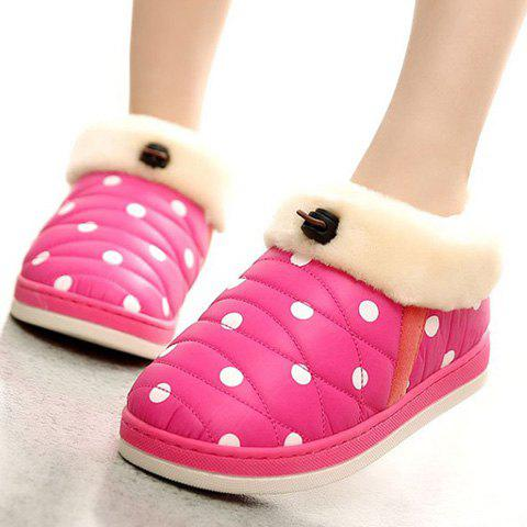 Affordable Polka Dot Fur Trim Indoor Outdoor Slippers