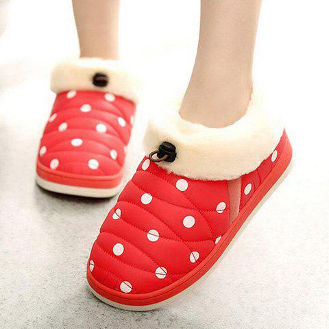 Chic Polka Dot Fur Trim Indoor Outdoor Slippers - SIZE(39-40) RED Mobile