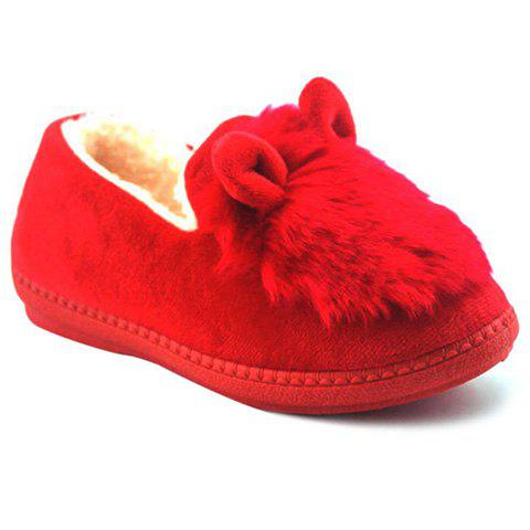Cheap Flocking House Slippers - RED 38 Mobile
