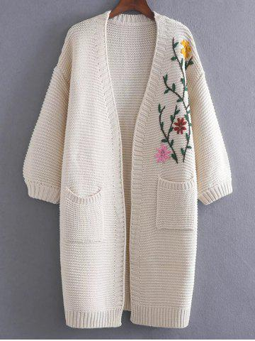 Outfits Floral Embroidered Pockets Vintage Cardigan