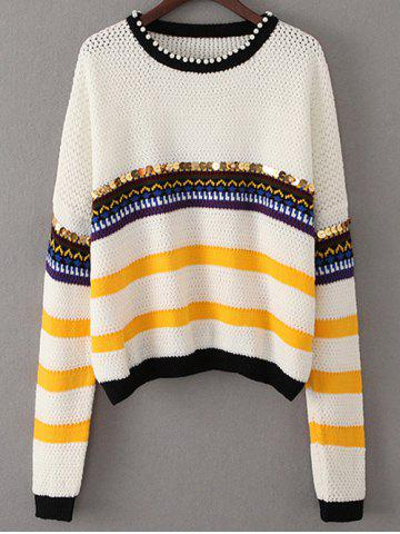 Discount Beading Sequined Color Block Sweater