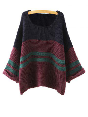 Trendy Color Block Loose Chunky Jumper
