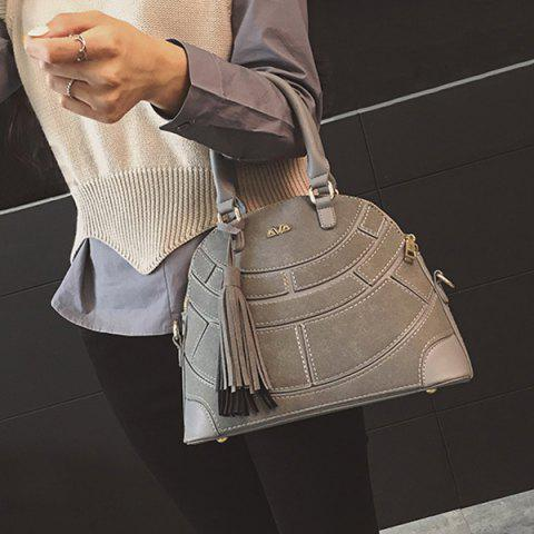 Cheap Patch PU Leather Tassel Tote GRAY