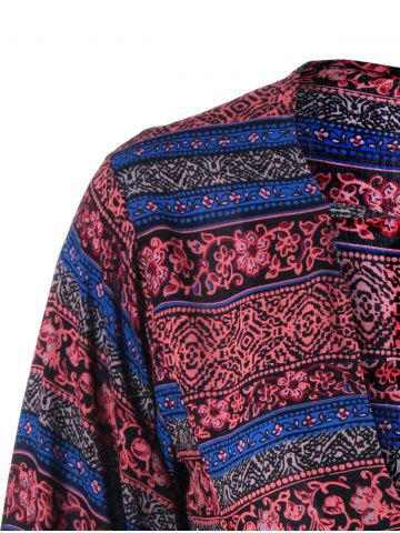 Best Lace Up Ethnic Print Boho Blouse - 2XL DARK RED Mobile