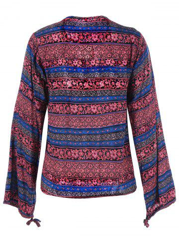 New Lace Up Ethnic Print Boho Blouse - 2XL DARK RED Mobile
