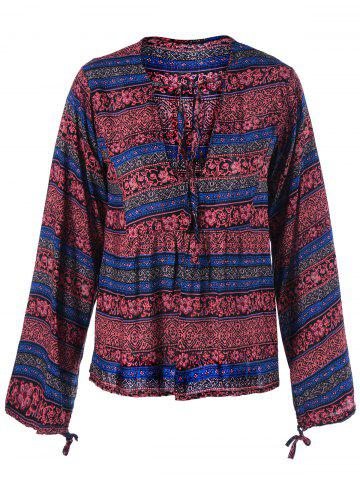 Affordable Lace Up Ethnic Print Boho Blouse - 2XL DARK RED Mobile