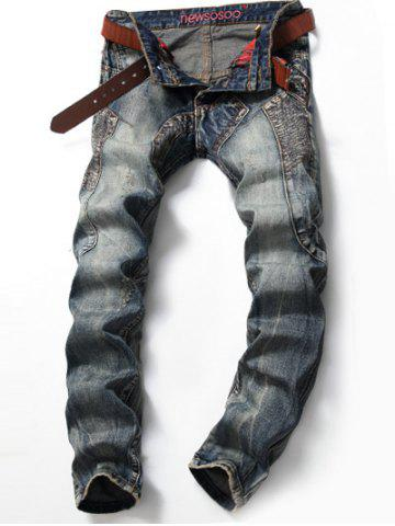 Outfit Scratched Multi Pocket Stitching Jeans BLUE 38