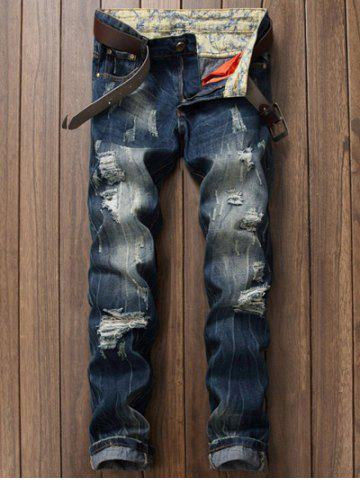 Latest Zipper Fly Pocket Rivets Scratched Ripped Jeans