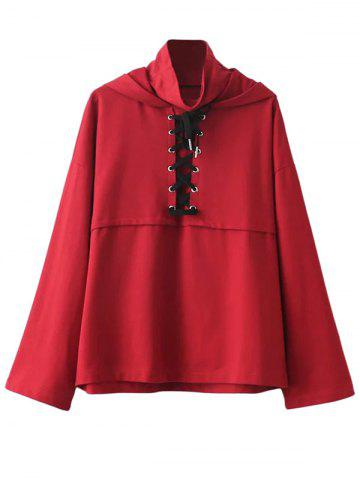 Online High Neck Lace Up Neck Hoodie RED L