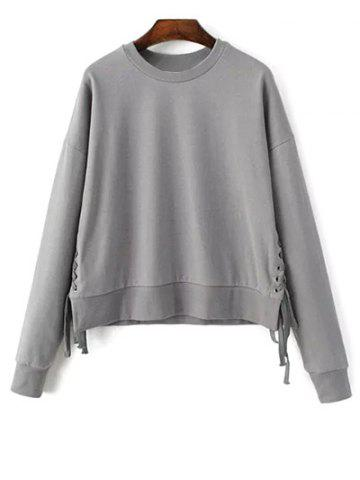 Outfit Jewel Neck Lace Up Sweatshirt