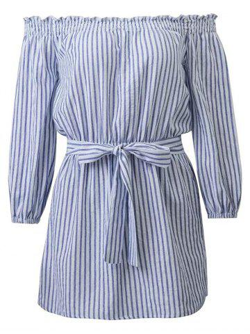 Chic Casual Off Shoulder Striped Belted Dress