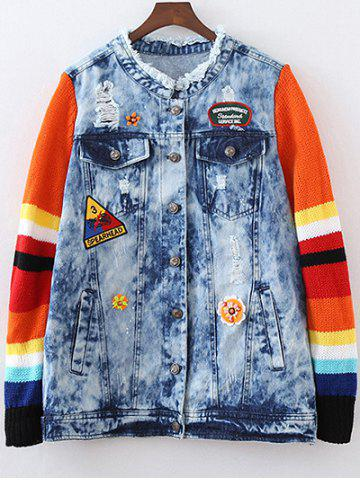 Best Ripped Patched Denim Spliced Jacket BLUE L