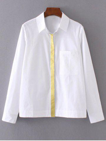 Outfit Long Sleeve Color Block Pocket Shirt WHITE L