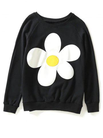 Outfits Jewel Neck Sun Flower Patch Sweatshirt BLACK L