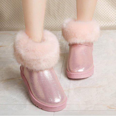 Discount Tassels Faux Fur PU Leather Snow Boots