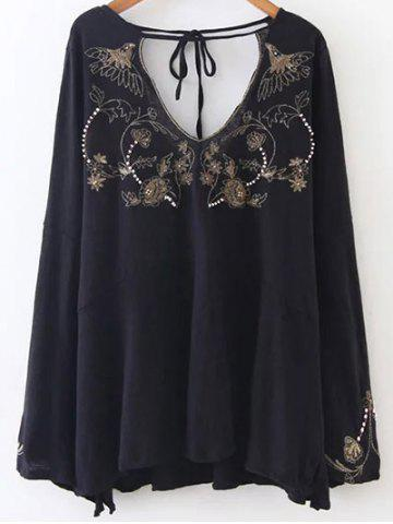 Double V Neck Embroidered Blouse - Black - L