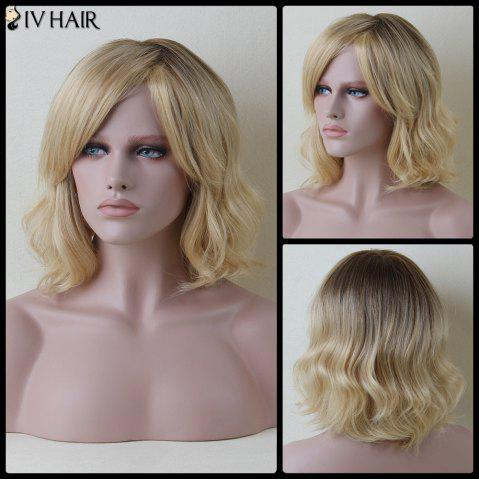 Chic Stunning Short Side Bang Slightly Curled Siv Human Hair Wig COLORMIX
