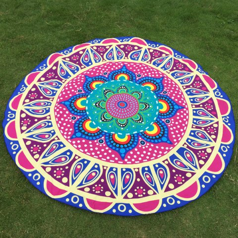 Online Ethnic Flower and Polka Dot Print Round Beach Throw BLUE ONE SIZE