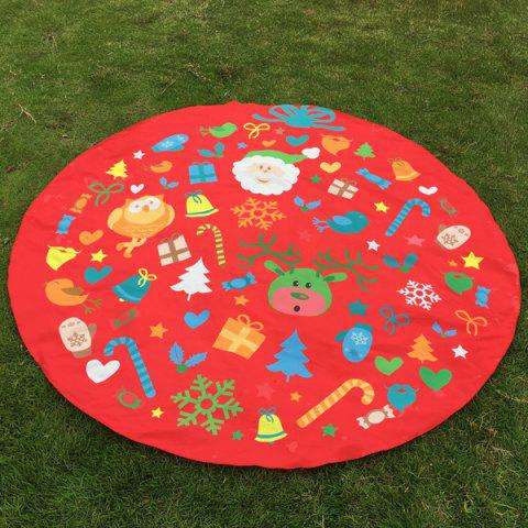 Discount Christmas Elements Print Round Beach Throw RED ONE SIZE