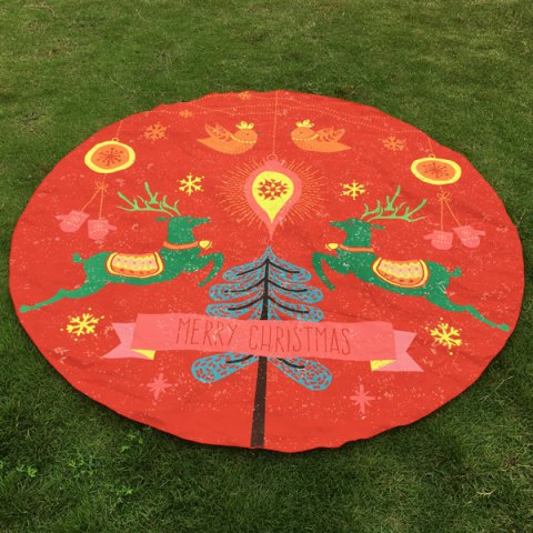 Two Christmas Reindeers Print Round Beach Throw - RED ONE SIZE