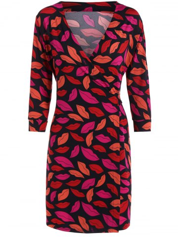 Chic Plunge Neck Red Lip Print Wrap Dress RED L
