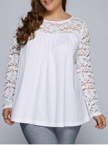 Unique Plus Size Lace Splicing Long Sleeve Blouse WHITE 5XL