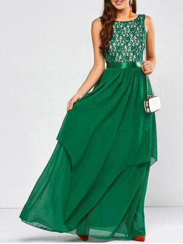 Lace Panel Chiffon Maxi Evening Formal Bridesmaid Prom Dress - Green - M