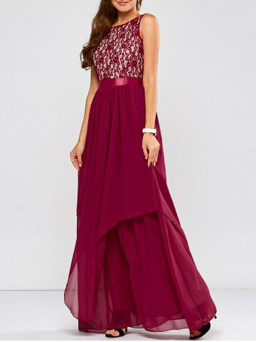 Lace Panel Chiffon Maxi Evening Formal Bridesmaid Prom Dress - Wine Red - 2xl