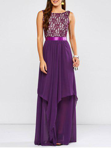 Hot Lace Panel Chiffon Maxi Evening Engagement Prom Dress