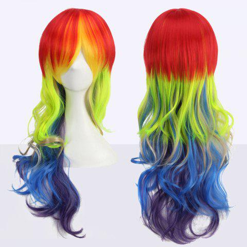 Outfits Long Side Bang Wavy Cosplay Rainbow Synthetic Wig