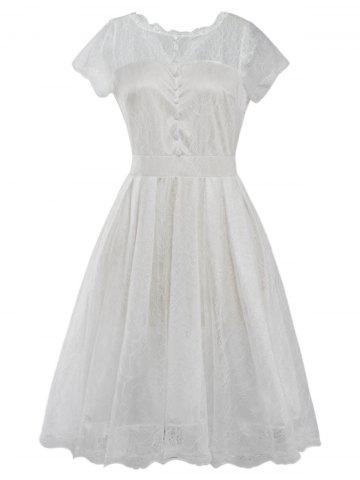 Sale Funky Short Wedding A Line Dress With Sleeves WHITE XL