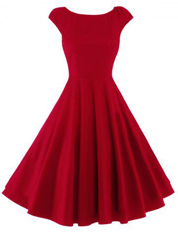Chic A Line Puffer Cap Sleep Prom Dress RED L