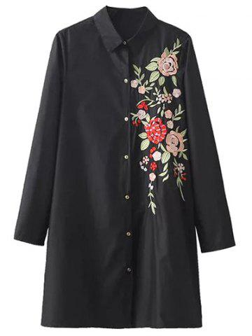 Chic Button Down Floral Embroidered Shirt Dress BLACK S