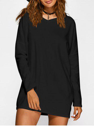Fancy V Neck Long Sleeve Mini Casual Tunic Dress BLACK XL