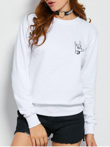 Best I Love You Gesture Graphic Sweatshirt WHITE L