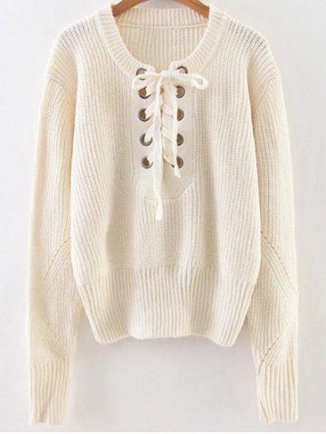 Sale Lace Up Ribbed Pullover Sweater WHITE ONE SIZE